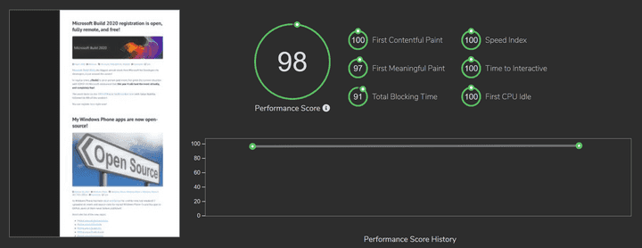 Speed test results from Fast or Slow for this Azure Static Web App