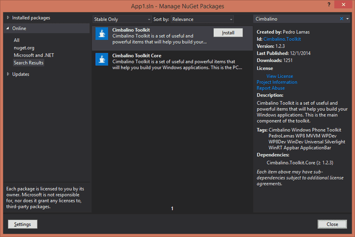 Installing Cimbalino Toolkit with NuGet Package Manager