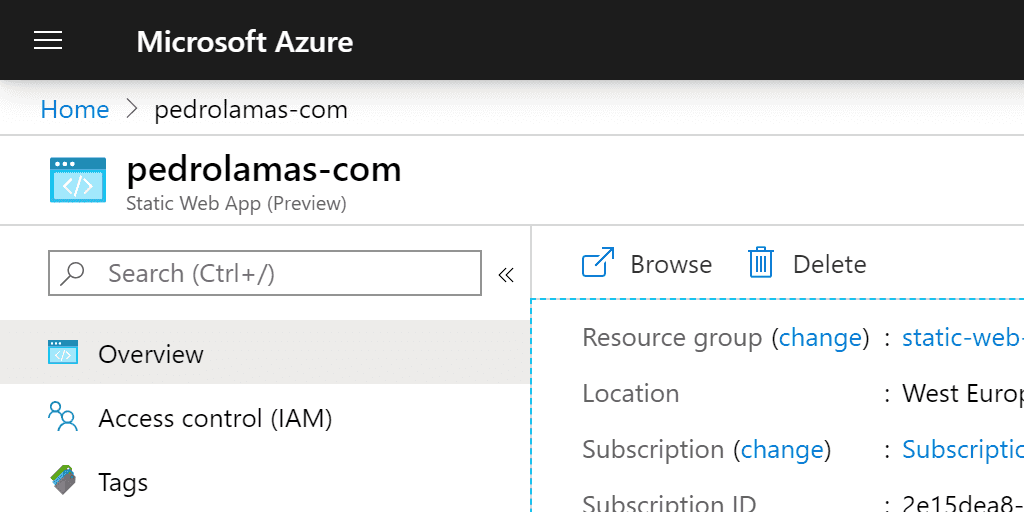 My first steps with Azure Static Web Apps